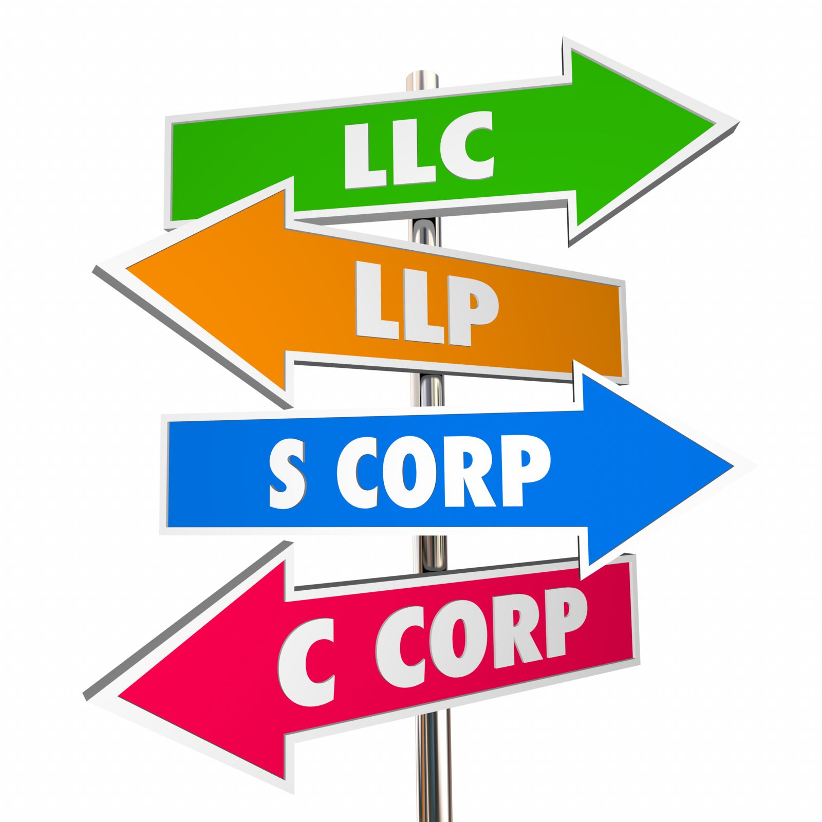 Poste de señalamiento con flechas a las distintas estructuras legales de negocios