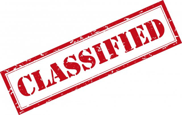 "The word ""Classified"" in large red font."