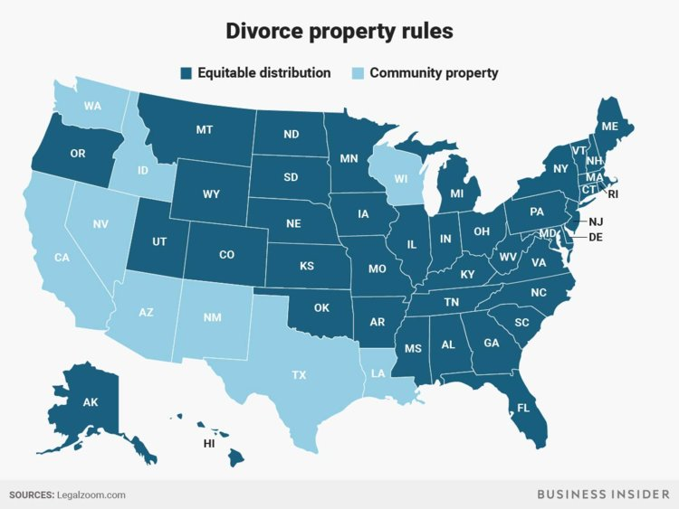 Map of community property states in the US
