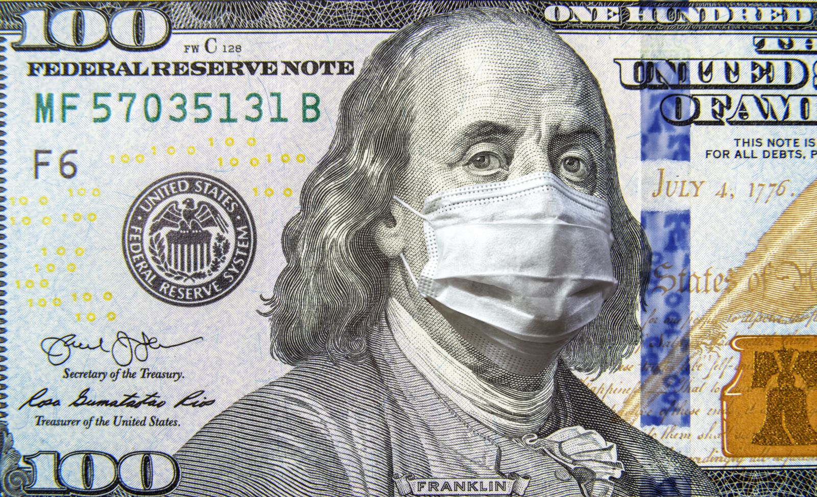 100 bill with Ben Franklin wearing a mask