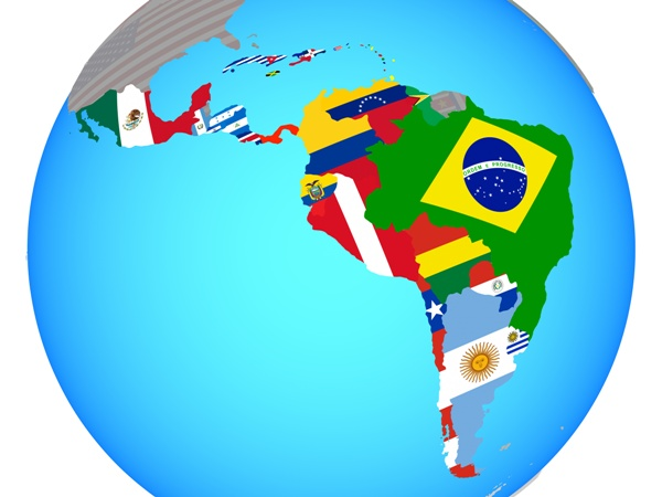 latin american country flags on continent