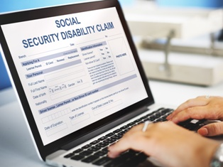 Social Security Disability Claim on a Computer Screen