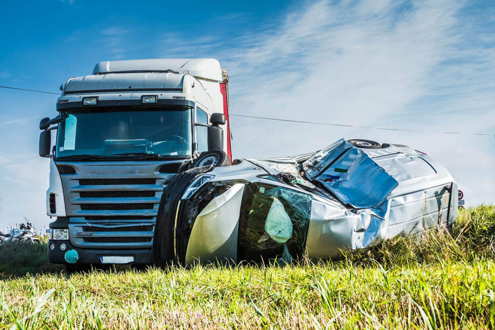 truck hits car causing accident