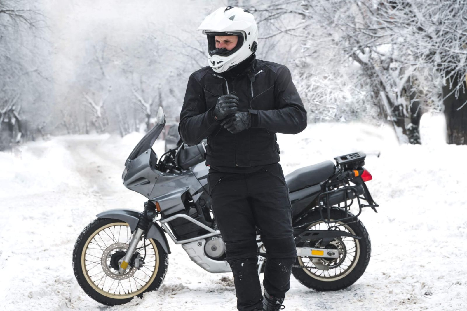 Riding a motorcycle in the snow