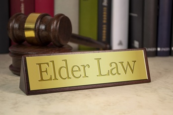 Elder Law Attorney Plaque With a Wooden Mallet