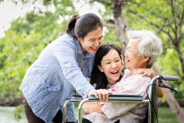 Elderly Parent in Wheelchair With Daughter and Granddaughter