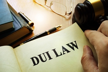 DUI Law Book With a Gavel