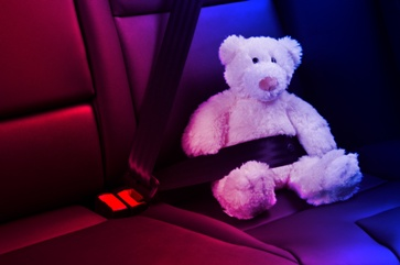 Police Lights on a Teddy Bear in the Backseat of a Car