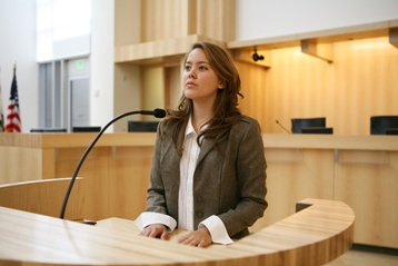 Woman Testifying in a Courtroom