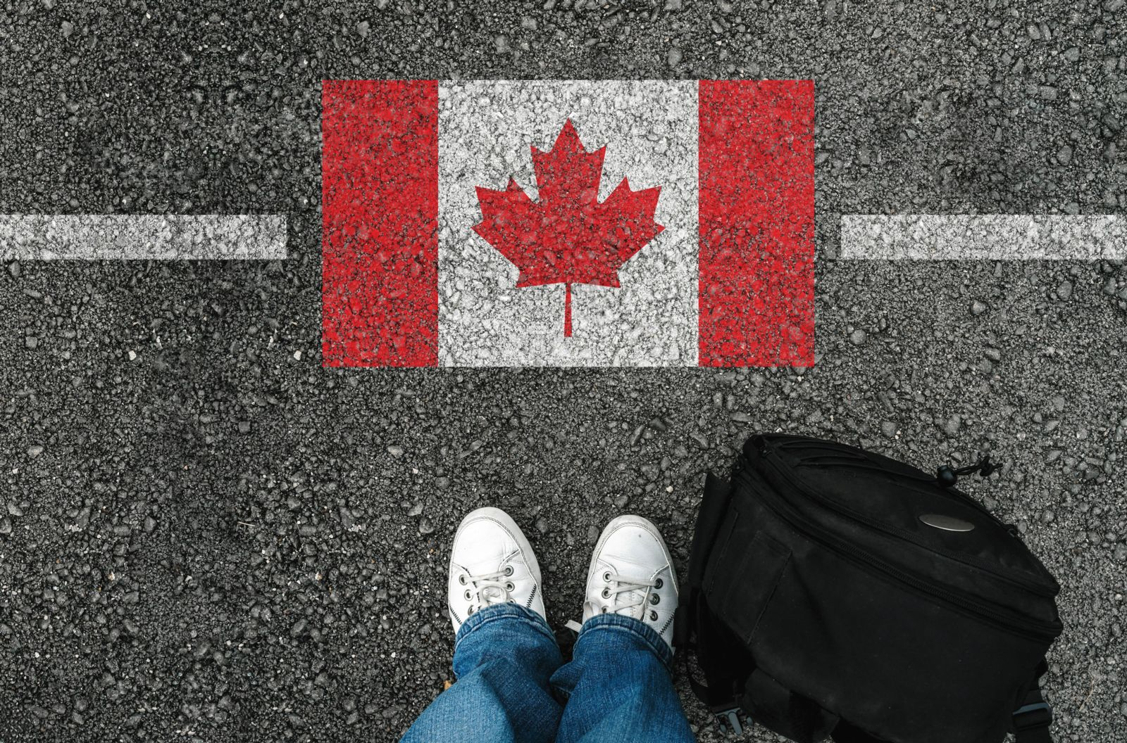 Person Standing at the Canadian Border