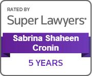 SuperLawyers Sabrina Shaheen Cronin 5 Years