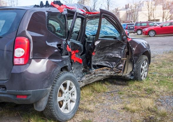 car after side impact crash