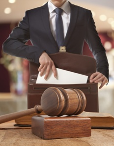 lawyer in court with briefcase