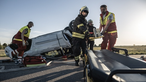 rollover accident scene