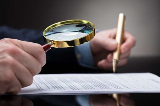 lawyer inspecting a contract
