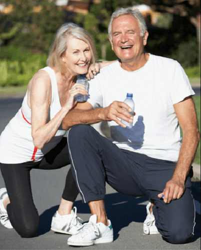Middle aged Man and woman runners