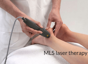 physician applied a laser wand to a patients foot