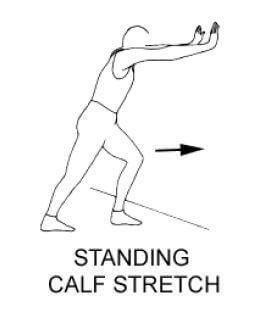 person doing a calf stretch