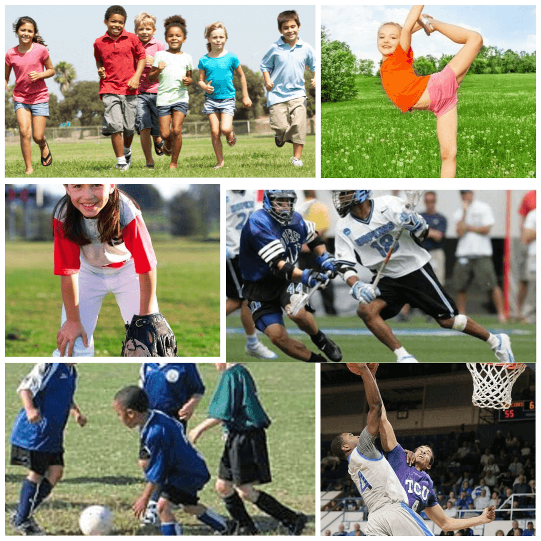 6 different pictures of youth athletes engaging in various sports