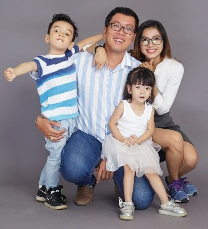 family of four including boy and girl