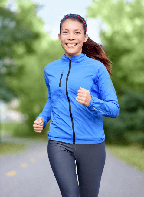 Women running in fall clothes