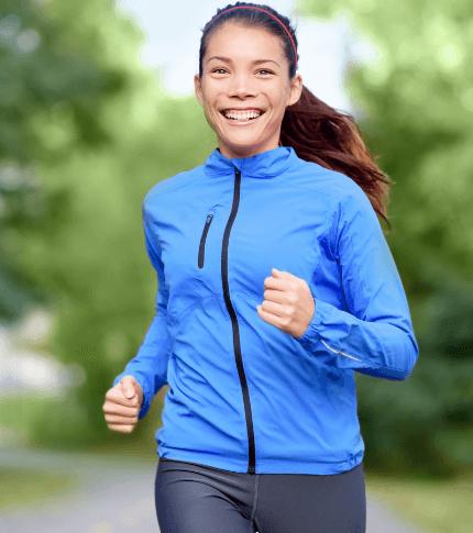 woman running in fall