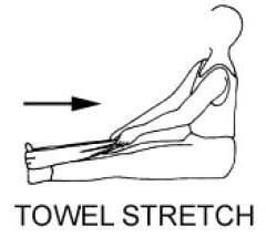 person stretching calf with towel