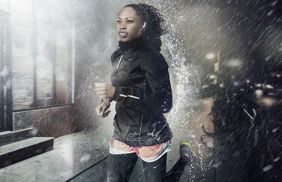 woman running in the rain