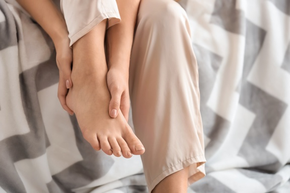 woman with foot pain