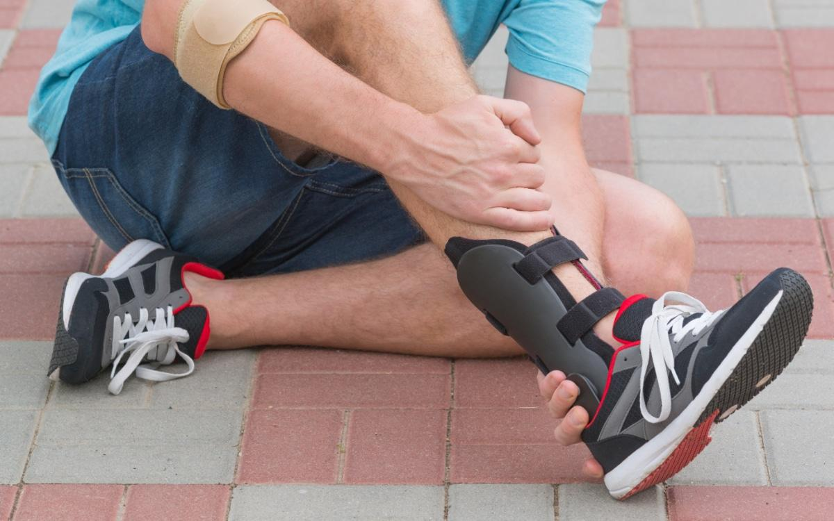 Man wearing ankle brace