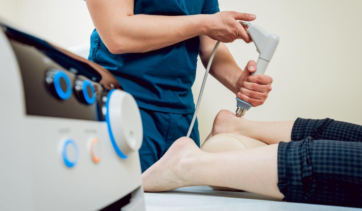 Laser therapy on back of heel