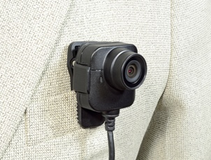body camera on jacket lapel