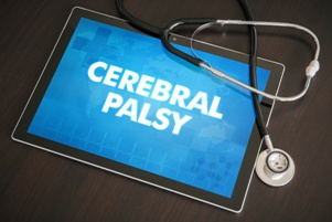 cerebral palsy on tablet screen with stethoscope