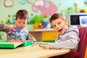 child with cerebral palsy in speech therapy