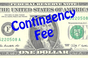 dollar bill with contingency fee printed on it