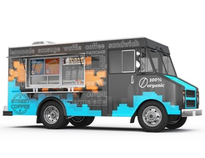food truck ready to drive down road