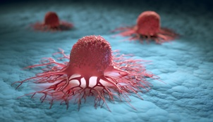 group of isolated cancer cells 3D image