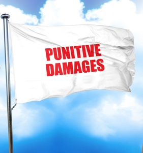 punitive damages flag with blue sky background