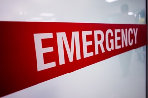 sign in a hospital emergency room