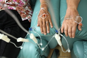 hands with IVs getting chemotherapy