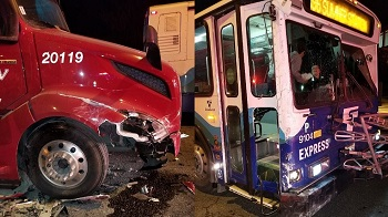semi truck hits bus
