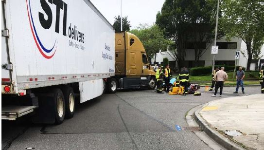trucking accident with motorcycle