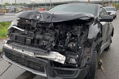 Washington State semi truck accident photograph