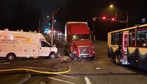 CRASH VIDEO: Semi Truck Hits Sound Transit Bus
