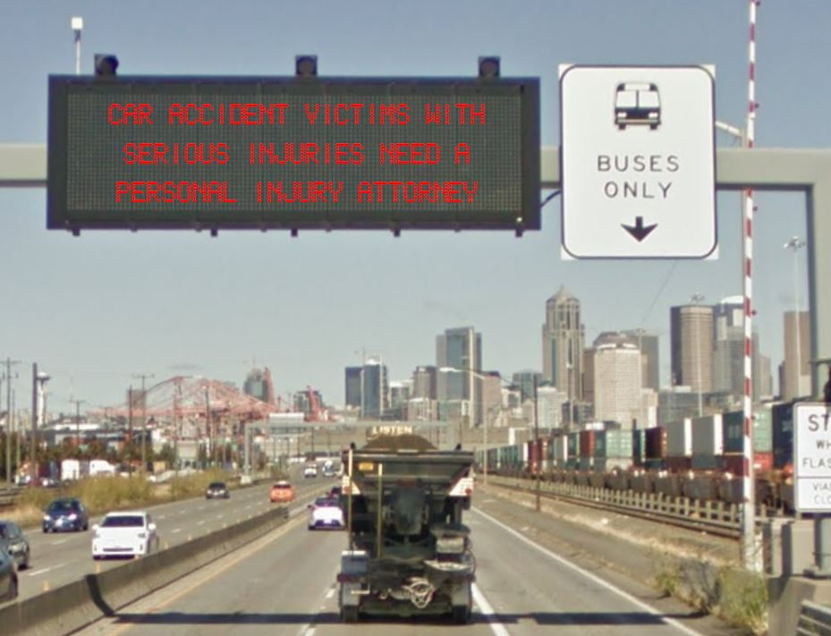 highway sign car accident victims need a lawyer