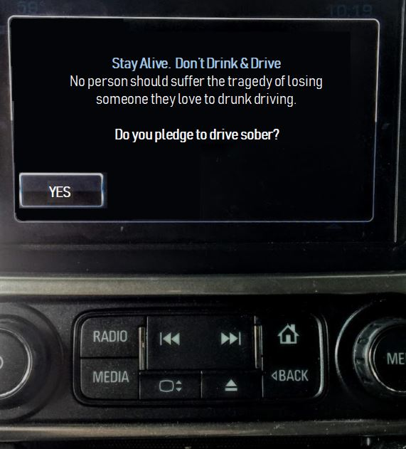 Vehicle Message System Don't Drink & Drive