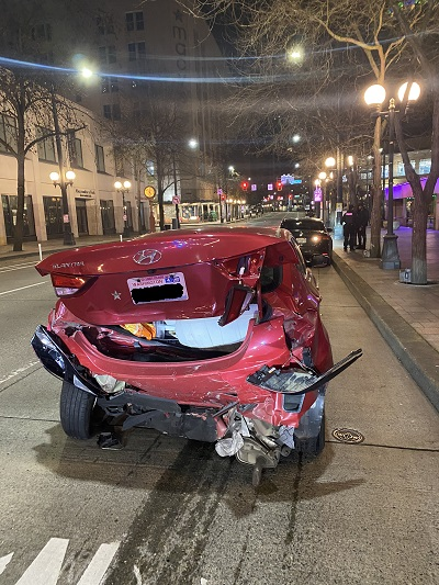 downtown Seattle car accident