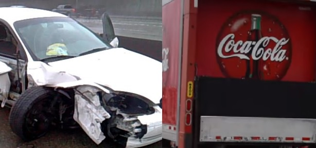 serious crash with coca cola truck