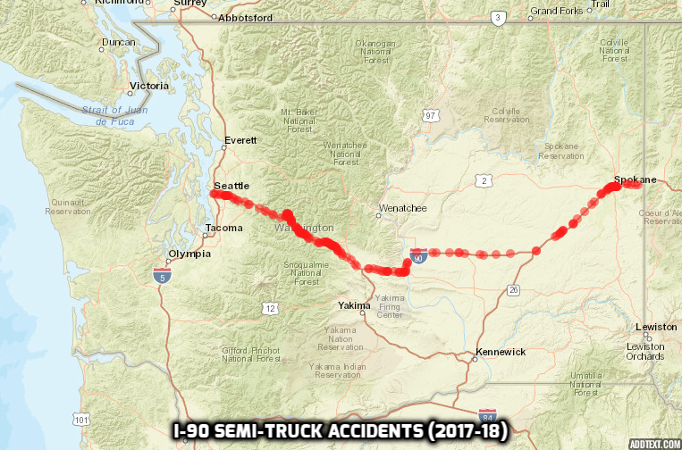 Interstate 90 accident map