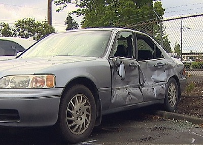 Everett Washington car damaged by pickup truck